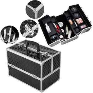 13.5-дюймовая косметическая коробка для косметической коробки для поезда с регулируемыми разделителями 4 лотка и 2 замки Black UK / US Warehouse