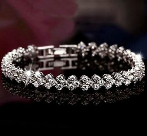 Luxury Austria Shining Crystal Bracelets Genuine 925 Sterling Silver Charms Bracelet Zircon Diamond Roman Tennis Link Bracelet Jewelry