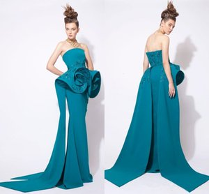 Azzi And Osta Teal hunter Prom Dresses Arabic Middle Eastern Evening Gowns Strapless Bateau Sequin Beaded Formal Dress Wear