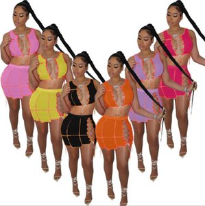 2021Dress para mujeres Vestido de verano Vestidos Sexy para Club Night Patchwork Hollow Out Slim Mini Vestidos Mini vestido sexy de cintura alta