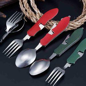 Knife Detachable Three-Open Combination Outdoor Travel Tableware Multifunctional Folding Swiss DHL Free X0DZ