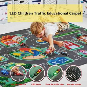 Children's Educational Carpet Traffic Urban Road LED Baby Play Mat Crawling Pad Kids Rug Infant Non-slip Developing Mats Blanket 210401