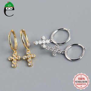 Authentic 925 Sterling Silver Fashion Sweet Cross CZ Charm Small Hoop Stud Earring For Women Jewelry Gift DA835