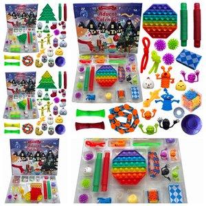 Christmas Fidget Toys Advent Calender 24 Days Countdown Calendar Simple Dimple Decompression Toy Push Bubbles Xmas Gift RRA4405