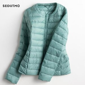 Sedutmo 2020 primavera ultra ligero pato jackets mujeres más talla grande 3xl abajo abrigo corto negro otoño manga larga chaqueta ED1491