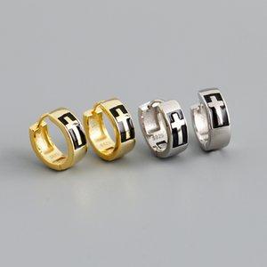 Trendy 925 sterling silver fashion cross huggie earring for lady guangzhou high quality 18k gold plated women jewelry bulk wholesale earrings