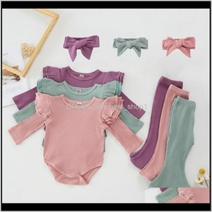 Baby, Kids & Maternity Drop Delivery 2021 Girl Clothes Toddler Solid Romper Flare Pants Headband 3Pcs Sets Cotton Long Sleeve Girls Outfits B