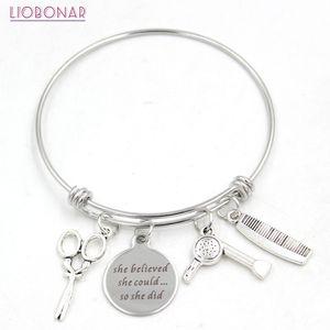 Adjustable Wire Hair Stylist Bangle Comb Hair Dryer Scissors Bracelet for Women Jewelry Pulsera Gifts