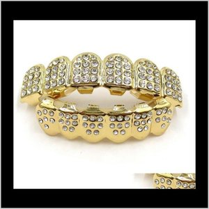 Grillz, Body Drop Delivery 2021 Dental Hip Hop Iced Out Cz Diamonds Top Sier Hiphop Jewelry Gold Teeth Rhinestone Top&Bottom Grills Set Shiny