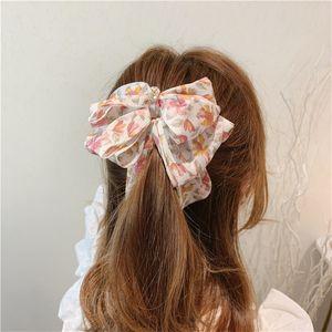 Corea estilo horquilla dulce vertical clip lindo gasa floral arco plátano clip ponytail titular mujer moda accesorios para el cabello 366 q2