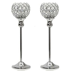 Crystal Candle Tealight Holders Metal Candlesticks Stand Wedding Home Party Holiday Decoration Dinning Table Centerpieces SH190924