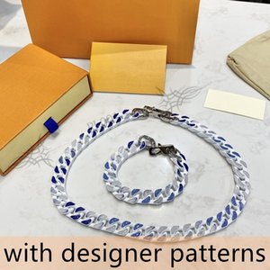 2021 id Best-selling Sky Blue Gradient Bracelet and Necklace Shiny Couple Style High Quality Personalized Chain Professional Fashion Jewelry Supplier