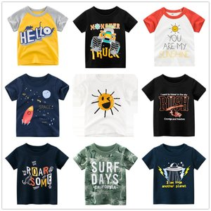 2-9 anni bambini ragazzi 100% cotone manica corta spazio cartone animato t-shirt vestiti bambini bambini estate cime abbigliamento