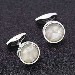 Natural White Shell Stone Cuff Links Cufflinks for Mens Vintage Sliver Color Plated High Quality Round Stones Cufflink Gift