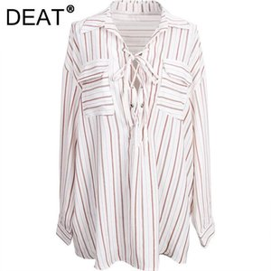 Women's Blouses & Shirts DEAT 2021 Autumn And Winter Fashion Casual Long Sleeve Loose Patchwork Lace Up Stripe Bandage Shirt Top Women SL278
