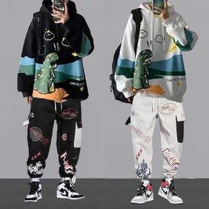 Overalls Mens Fashion Brand Ninth Pants Suit Hip Hop Long Sleeve Sweatshirt Sports Set Student Casual Clothes