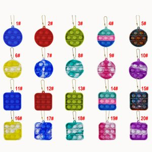 Pop it Fidget Pendants Anti Anxiety Silicone Squeeze Adult and Child Gift Keychain Push Bubble Sensory Toy That relieves Stress