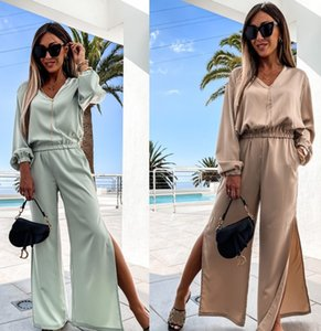 Womens Two Piece Pants Fitness 2 pcs full pant Split long sleeve t shirts suits top Leggings outdoor wear outfits streetwear casual sets Hollow Out sports outwork set