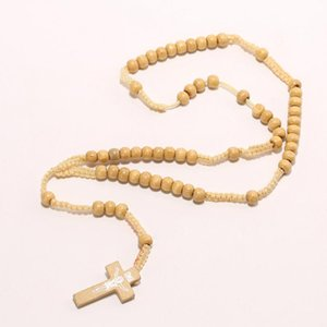 Retro Style Cross Necklaces&Pendants For Men Women Wooden Rosary Bead Pendant Necklaces Prayer Jewelry