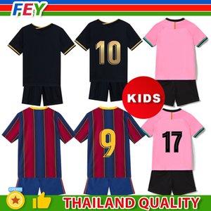 Fussball Jersey Baby Kleidung Kinder Kit Maillot de Foot Messi Griezmann F.de Jong Personalisierte Benutzerdefinierte 2020-21 Fußballtrikots Uniform Überneommenung Uniformen