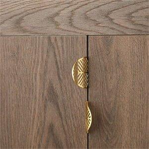 Forma de folha de bronze armário de porta armário antigo mobiliário handles gaveta puxa maçaneta de cozinha botões de ouro e alças 603 R2