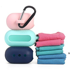 Fast Drying Microfiber Quick Dry Sports Cool Towel with Silicone Storage Bag Pack for Travel Camping Gym Towel Backpacking Hiking DHF6291