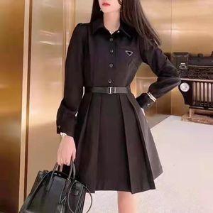 Kadın Blazers Düğme Harfleri ile Pileli Etek Tunç Bayan Ince Kemer Elbise Gömlek Uzun Kollu Sonbahar Bahar Stil Elbiseler