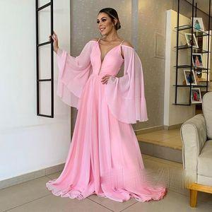 Шифон выпускные платья вспышки с длинным рукавом линия розовый формальный вечерние платья для вечеринок