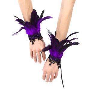 Halloween Vintage Steampunk Guanti Guanti da polso Polsino retrò Braccialetto Vittoriano Costume Accessori Gothic Piuma Ingranaggi in pizzo Gastronomia Handwear Five dita