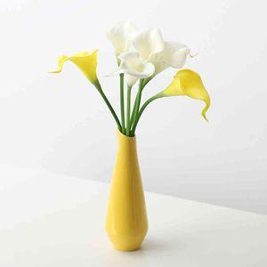 Fashion Yellow Porcelain Wedding Room Decor Jardiniere Dining Table Furnishings Flower Plant Stand Vase
