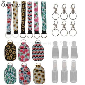 6Pcs 30ml Reusable Spray Bottle Hand Sanitizer Keychain Holder Leakproof Refillable Wrist Strap Travel Containers Kit 210409