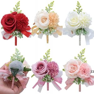 Flower Wrist Corsage Boutonniere Handmade Wristband Red Pink Artificial Peony Rose Corsages Wedding Bridesmaid Party Suit Decor HWE9770