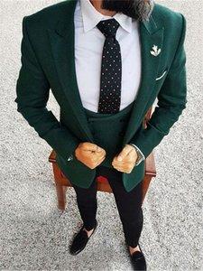يناسب الرجال الحلل الأنيق الداكن الأخضر الذكور دعوى العريس ثلاثة قطعة معا (سترة + سترة سترة)