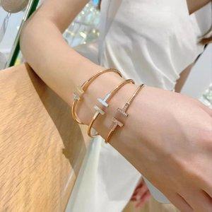 Огромный браслет женские стерлинговые серебро 18 К розовое золото с двойными открытиями моллюсками роскошных брендов дизайнер ювелирных изделий