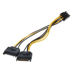 Dual 15 Pin SATA Male to PCIE 8Pin-Male GPU Video Card Power Cable