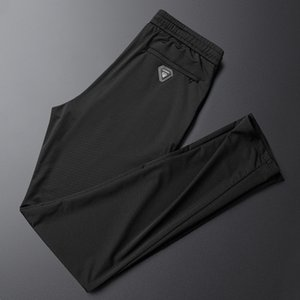 Summer air conditioning men's ice silk thin style breathable slim mesh casual pants sportswear fashionZD2P