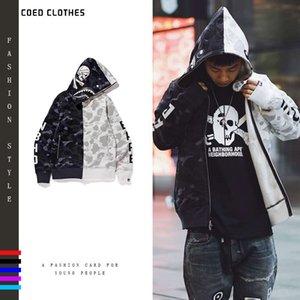 Мужская капюшона черная белая сплайная акула пальто голова одежды и WO же Yin Yang вентилятор капюшона кардиган свитер LG5T