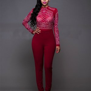 Women Sequins Jumpers For Night Club Eur Fashion High Waist Mesh See Through Skinny Tracksuit Lady Bodycon Tracksuit