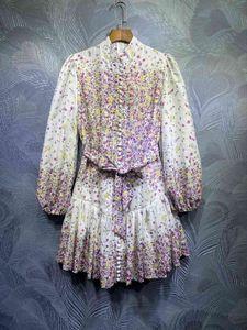 ZIM latest stand collar printed lantern sleeves linen waist lace dress