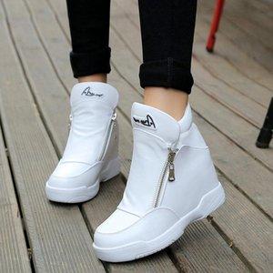 부츠 2021 봄 패션 지퍼 여성 캐주얼 신발 숨겨진 웨지 화이트 숙녀 발목 높은 탑 스니커즈