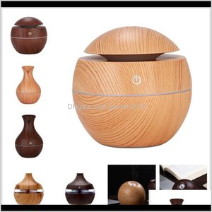 Oils Diffusers Wood Grain Bamboo With Led Lights Mini Aroma Essential Oil Diffuser Usb Ultrasonic Air Humidifier For Office Home 8 G2H Aetsx