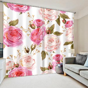 Luxury 3D Window Living Room wedding bedroom pink rose curtain personality curtains