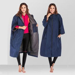 Light Changing Robe Jacket Swim Long Soft Fleece Lined Windbreaker Poncho Hiking Camping Diving Wearable Towel Bathrobe