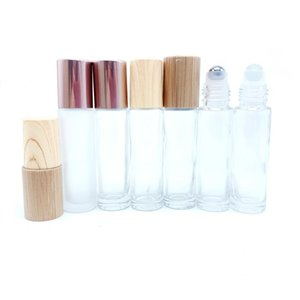 10ml Stainless Steel Roller Bottle Frosted Essential Oil Lip Gloss Packaging Eye Gel With Bamboo Cap 20pcs P272 Storage Bottles & Jars
