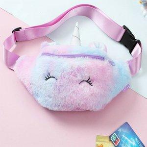 Waist Soft Plush Cute Unicorn For Girl Kids Crossbody Bag Korean Belt Fashion Fanny Pack hairclippersonline