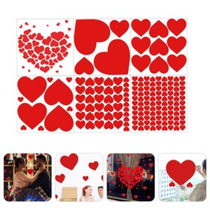 Set 6 Pcs Valentine's Day Red Heart Wall Sticker Holiday Wedding Home Decoration DIY Self-adhesive Glass Floor Stickers