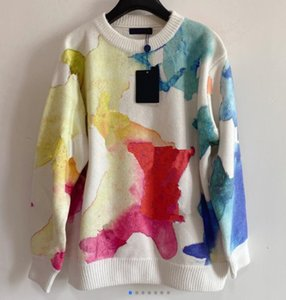 Retro style pullover women loose outer wear watercolor rendering autumn and winter round neck bottoming sweater 702