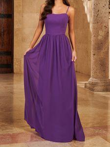 Purple Bridesmaid Dress Chiffon Wedding Party Dresses Spaghetti Zipper Back Floor Length