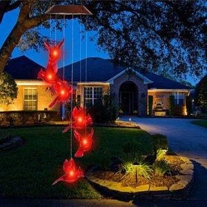 Strings Led Solar Power Wind Chime Light Red Hummingbird Romantic Fairy Lighting Waterproof Outdoor Windchime Lamp Home Garden Decor