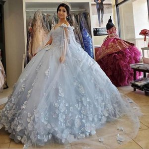 Light Blue Quinceanera Dress with cape wrap 2021 Off Shoulder Flowers Sequins Beads Puffy Party Princess Sweet 16 Gown Vestidos De 15 Años